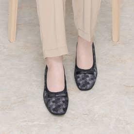 パンプス リボン 黒コンビ 本革 日本製 (BL)