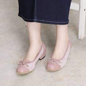 パンプス ヒール リボン 本革 日本製 歩きやすい 痛くない 疲れない (PINK)