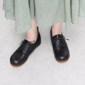 レースアップ ヒモ靴 インヒール 本革 日本製 (BL)