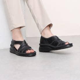サンダル 前あき 踵付き 本革 日本製 外反母趾 (BL)