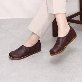 カジュアルのスリッポンで両ゴムで歩きやすい 本革 日本製 外反母趾 4E (BR)