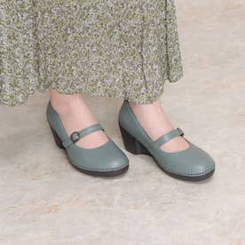 パンプス ウェッジ ウィッジ 本革 日本製 ベルト ゴム 歩きやすい 足長効果 (BLUE)