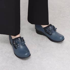 カジュアルシューズ 花 ストーン ウォーキング 軽量底 3E 本革 日本製 (BLUE)