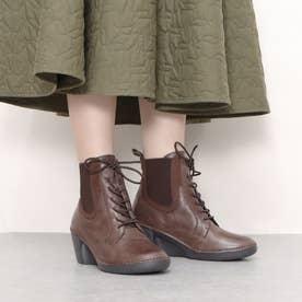 ブーツ 編み上げ サイドゴア ゴム 4E ウェッジ ウィッジ 本革 日本製 (BR)
