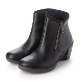 ブーツ ショートブーツ 本革 日本製 サイドファスナー ウェッジ ウィッジ 歩きやすい (BL)