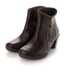 ブーツ ショートブーツ 本革 日本製 サイドファスナー ウェッジ ウィッジ 歩きやすい (BR)