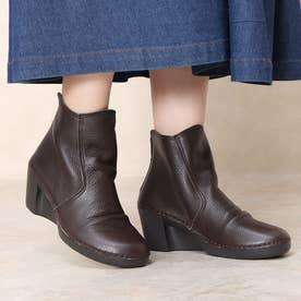 ブーツ ショートブーツ シャーリング しわしわ ウェッジ ウィッジ 本革 本革 足長効果 (BR)
