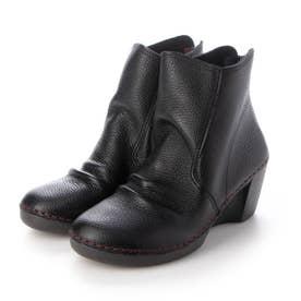 ブーツ ショートブーツ シャーリング しわしわ ウェッジ ウィッジ 本革 本革 足長効果 (BL)