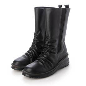 ブーツ ミドルブーツ 4E 本革 日本製 ファスナー ゴム 歩きやすい (BL)
