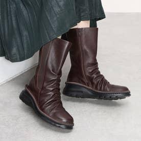 ブーツ ミドルブーツ 4E 本革 日本製 ファスナー ゴム 歩きやすい (BR)