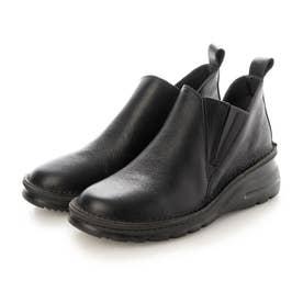 ブーツ ショートブーツ 4E ゴム ファスナー 本革 日本製 外反母趾 (BL)