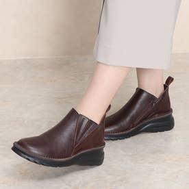 ブーツ ショートブーツ 4E ゴム ファスナー 本革 日本製 外反母趾 (BR)