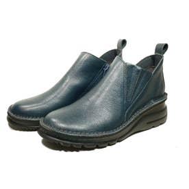 ブーツ ショートブーツ 4E ゴム ファスナー 本革 日本製 外反母趾 (BLUE)