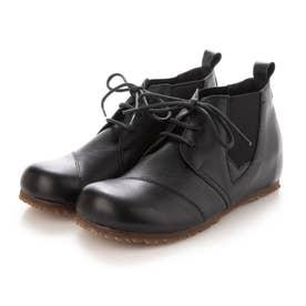 ブーツ ブーティー 本革 ヒモ 両ゴム 日本製 外反母趾 (BL)