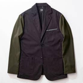 YZO バイカラーテーラードジャケット(カーキ×ブラック)【返品不可商品】