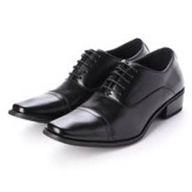 ビジネスシューズ 靴 メンズ 紳士靴 フォーマル ストレートチップ レースアップ 内羽根 シークレットシューズ ロングノーズ (ブラック)
