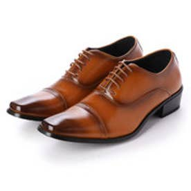 ビジネスシューズ 靴 メンズ 紳士靴 フォーマル ストレートチップ レースアップ 内羽根 シークレットシューズ ロングノーズ (ライトブラウン)