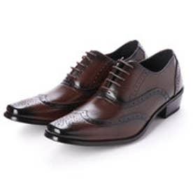 ビジネスシューズ 靴 メンズ 紳士靴 フォーマル ウイングチップ レースアップ 内羽根 シークレットシューズ ロングノーズ (ダークブラウン)