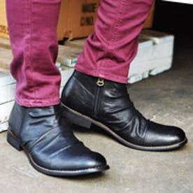 メンズブーツ Wサイドジッパー チャッカブーツ ショートブーツ ドレープブーツ ジップアップ 靴 メンズシューズ (ブラック)
