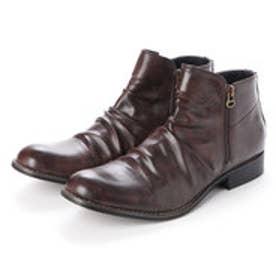メンズブーツ Wサイドジッパー チャッカブーツ ショートブーツ ドレープブーツ ジップアップ 靴 メンズシューズ (ダーク・ブラウン)
