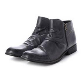 メンズブーツ Wサイドジッパー チャッカブーツ ショートブーツ ドレープブーツ ジップアップ 靴 メンズシューズ (グレー)