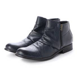 メンズブーツ Wサイドジッパー チャッカブーツ ショートブーツ ドレープブーツ ジップアップ 靴 メンズシューズ (ネイビー)