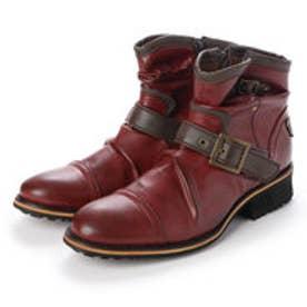メンズブーツ ドレープブーツ エンジニアブーツ ショートブーツ ジップアップ 靴 メンズシューズ (レッド)