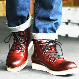 メンズブーツ ワークブーツ マウンテンブーツ ジップアップ +2.5cmUPインソールSET 替え紐付き シークレットシューズ 靴 メンズシューズ (レッド)