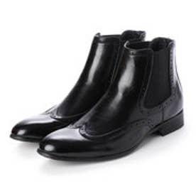 メンズブーツ サイドゴアブーツ  ウイングチップ ショートブーツ ドレスシューズ フォーマル 革靴 (ブラック)