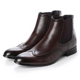 メンズブーツ サイドゴアブーツ  ウイングチップ ショートブーツ ドレスシューズ フォーマル 革靴 (ダークブラウン)