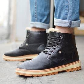 メンズブーツ 防寒 ムートンブーツ ショートブーツ  裏ボア 靴 メンズシューズ (ブラック)