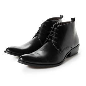 ビジネスシューズ メンズ ブーツ チャッカーブーツ 脚長 ショートブーツ ドレスシューズ 革靴 メンズブーツ 紳士靴 靴 レースアップ (ブラック)