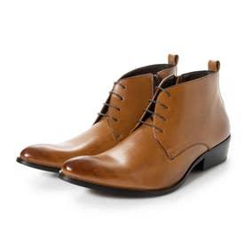 ビジネスシューズ メンズ ブーツ チャッカーブーツ 脚長 ショートブーツ ドレスシューズ 革靴 メンズブーツ 紳士靴 靴 レースアップ (ブラウン)