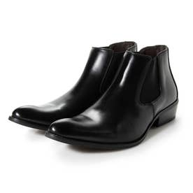 ビジネスシューズ メンズ ブーツ チャッカーブーツ 脚長 ショートブーツ ドレスシューズ 革靴 メンズブーツ 紳士靴 靴 サイドゴア (ブラック)
