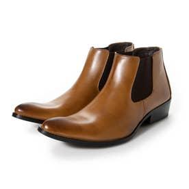 ビジネスシューズ メンズ ブーツ チャッカーブーツ 脚長 ショートブーツ ドレスシューズ 革靴 メンズブーツ 紳士靴 靴 サイドゴア (ブラウン)