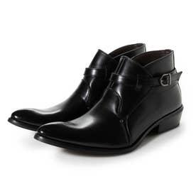 ビジネスシューズ メンズ ブーツ チャッカーブーツ 脚長 ショートブーツ ドレスシューズ 革靴 メンズブーツ 紳士靴 靴 ベルト (ブラック)
