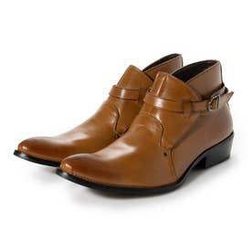 ビジネスシューズ メンズ ブーツ チャッカーブーツ 脚長 ショートブーツ ドレスシューズ 革靴 メンズブーツ 紳士靴 靴 ベルト (ブラウン)