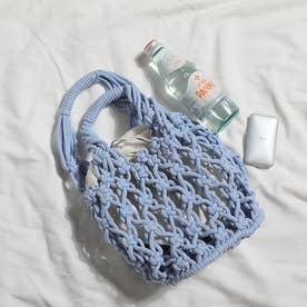 巾着付き 透かし編みバッグ 8214 (BLU)