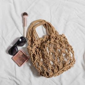 巾着付き 透かし編みバッグ 8214 (BRW)