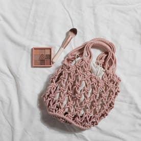 巾着付き 透かし編みバッグ 8214 (PNK)