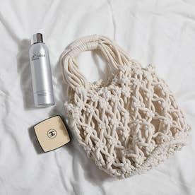 巾着付き 透かし編みバッグ 8214 (WHT)