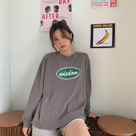 カジュアル  ロゴ プリント ロングTシャツ  7991 (GRY)