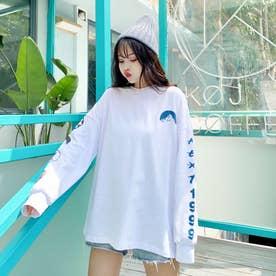 カジュアルプリント ロングTシャツ 7995 (WHT)