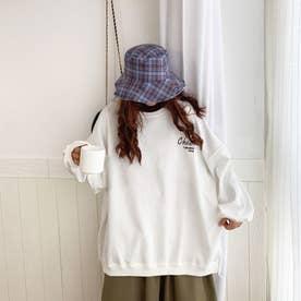 バックイラスト刺繍ロングTシャツ 8022 (WHT)