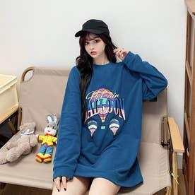 BALLOONプリント ロングTシャツ 8019 (BLU)