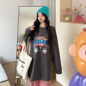 BALLOONプリント ロングTシャツ 8019 (GRY)
