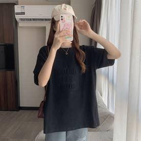フロントロゴ エンボス加工 半袖Tシャツ 8071 (BLK)
