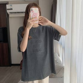 フロントロゴ エンボス加工 半袖Tシャツ 8071 (GRY)