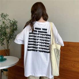 バックプリント レタリングTシャツ 8069 (WHT)