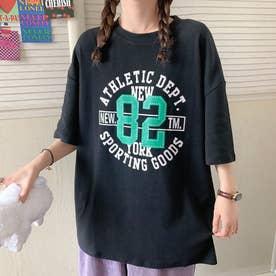 カジュアル プリント Tシャツ 8044 (BLK)